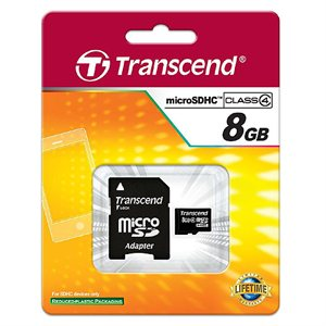 Carte microSDHC classe 4 de 8 Go avec adaptateur de Transcend