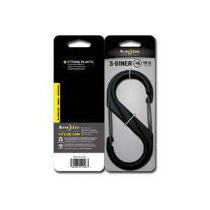 S-Biner de taille #6 en plastique de Nite Ize - Noir avec portail noir