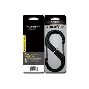 PLASTIC S-BINER SIZE #6 - BLACK W/BLACK GATES