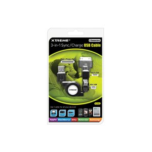 XTREME 3-IN-1 RETRACTABLE SYNC & CHARGE USB CABLE