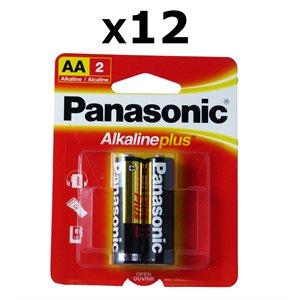 Paquet de 12 piles AA X2 Alkaline Plus de Panasonic