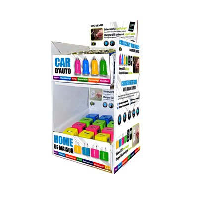 Présentoir - 36 pièces - Prise de recharge murale USB (12) et adaptateur USB pour auto (24) [jaune/rose/vert/bleu]