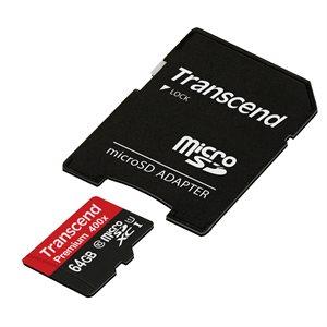 MicroSDXC 64Go UHS-I Premium 400X (adapteur inc.) de Transcend