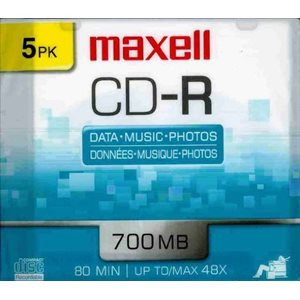 MAXELL CD-R 700 - SLIM JEWEL CASE - 5 PACK