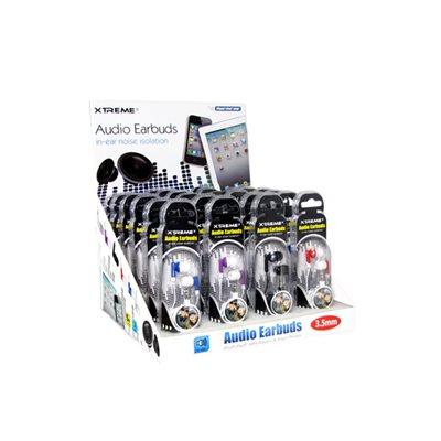 Écouteurs bouton à isolation sonore de Xtreme - Presentoir de 24 unités