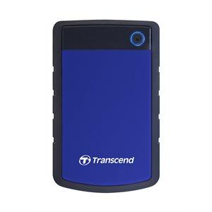 Disque dur externe Transcend de 2TB 2.5'' USB 3.0 Storejet H3P avec finition anti-chocs Bleu