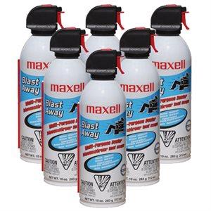Boite de 6x bouteille d'air comprimé de Maxell Multi-usage (10oz/295ml)