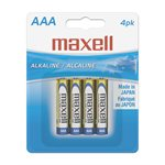 MAXELL BATTERIES AAA - 4 PACK LR034BP Alkaline Batteries (AAA; Carded)