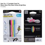 NITE IZE GEAR TIE CORDABLE TWIST TIE 3 INCH - 4 PACK - ASSORTED