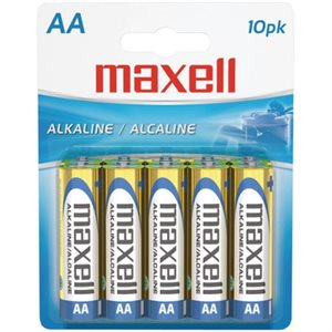 MAXELL BATTERIES AA - 10 PACK CARDED