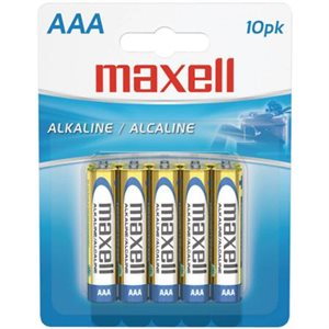 MAXELL BATTERIES AAA - 10 PACK CARDED