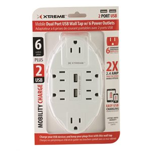 XTREME 6 OUTLET WALL TAP W/ 2 USB PORTS - WHITE