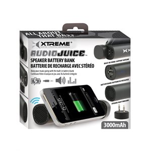 XTREME XSP9-1006-BLK AUDIO JUICE SPEAKER BATTERY BANK 3,000 MAH - BLACK