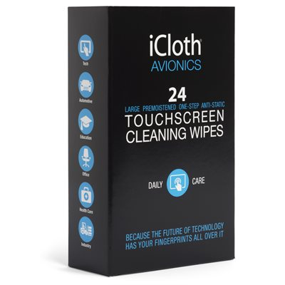 iCloth iCA24 AVIONICS TOUCHSCREEN CLEANING WIPES (24 WIPES) *** ENGLISH ONLY ***