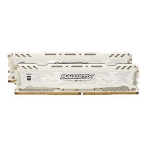 CRUCIAL BALLISTIX SPORT WHITE 16GB KIT (8GBX2) DDR4 2666 (PC4-21300) CL16 DR X8 UNBUFF DIMM 288PIN
