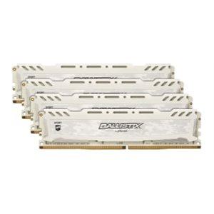 CRUCIAL BALLISTIX SPORT WHITE 64GB KIT (16GBX4) DDR4 2666 (PC4-21300) CL16 DR X8 UNBUFF DIMM 288PIN