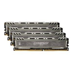 CRUCIAL BALLISTIX SPORT GREY 64GB KIT (16GBX4) DDR4 2400 (PC4-19200) CL16 DR X8 UNBUFF DIMM 288PIN