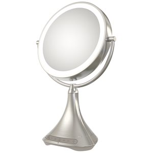 "IHOME BEAUTY PORTABLE/RECHARGEABLE 9"" DOUBLE-SIDED VANITY MIRROR SPKR W/BT,AUDIO,SPKRPH & USB CHARGE"
