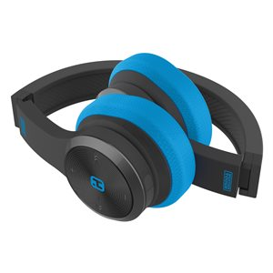 iHOME SPLASHPROOF,SWEATPROOF & RUGGED FOLDABLE BLUETOOTH HEADPHONES w/MIC & POUCH BLACK/BLUE*BIL*