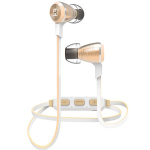 IHOME  WIRELESS BLUETOOTH METAL EARPHONES w/MIC + REMOTE CHAMPAGNE