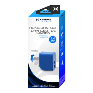 XTREME 2 PORT 2.4 AMP HOME CHARGER. LED INDICATOR, FOLDABLE PRONGS BLUE