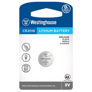 Westinghouse CR2016 3.0V lithium button cell  (1 pc blister)