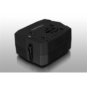 ALURATEK Universal Travel Adapter with Dual USB and Built-In 3,000 mAh Battery Charger
