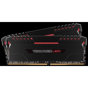 CORSAIR 16GB (KIT OF 2) 2666MHZ DDR4 DIMM 16-18-18-35 VENGEANCE BLACK HEAT 1.2V RED LED