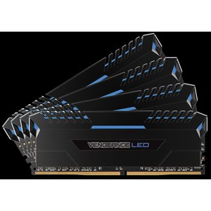 CORSAIR 64GB (KIT OF 4) 3200MHZ DDR4 DIMM 16-18-18-36 VENGEANCE BLACK HEAT 1.35V BLUE LED