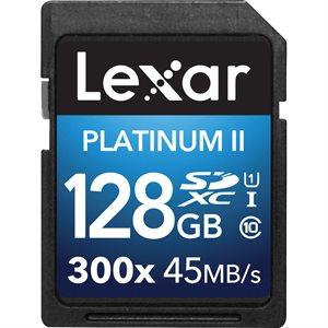 LEXAR # 128GB PLATINUM II SDHC/SDXC (300X) (SMALL BLISTER)