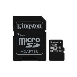 Carte Kingston microSDHC Canvas Select 80R CL10 UHS-I et adaptateur