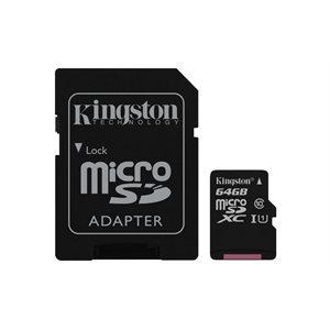 KINGSTON 64GB MICROSDXC CLASS 10 UHS-I 45R FLASH CARD CANADA RETAIL