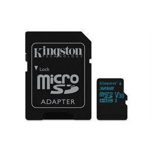 Kingston 32GB microSDHC Canvas Go 90R/45W U3 UHS-I V30 Card + SD Adptr (Canada)