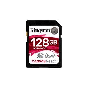 Kingston 128GB SDXC Canvas React 100R/80W CL10 UHS-I U3 V30 A1 Canada Retail