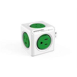 POWERCUBE ORIGINAL - 5 OUTLETS - WITH   SURGE  - GREEN - CETL