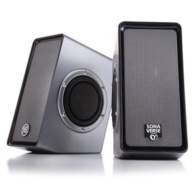 GOgroove SonaVERSE O2 USB Powered Speakers with Dual Side-Firing Passive Woofers*Grey*