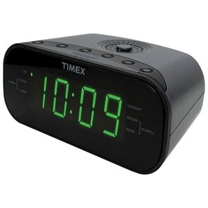 TIMEX T231GRYC6 JUMBO DISPLAY LED DUAL ALARM RDIO WITH AUX/LINE IN JACK - BLACK *BIL*