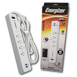 Energizer Smart Powerstrip  (4 Outlets, 2 USBs) (2.4A shared) *White* ENG PKG ONLY