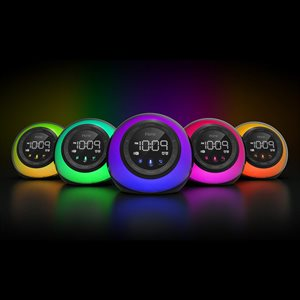 iHome App enhanced BT Color Changing Dual Alarm ClockRadio w/USB Voice Control,Siri,Google