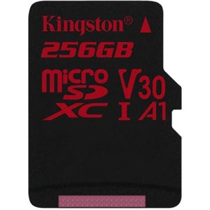 Kingston 256GB microSDXC Canvas React 100R/80W U3 UHS-I V30 A1 Canada Retail