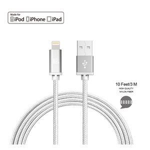 LAX Apple 10FT MFi Certified Durable Braided Nylon Lightning Cables-SILVER - ENG ONLY