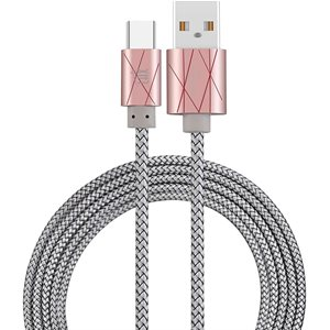 LAX 6FT Durable Braided Nylon USB-C to USB A Cable-PINK RIBBON - ENG ONLY