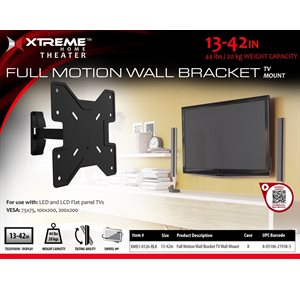 "XTREME  Full Motion Wall Bracket Size 13""-42"" Black"