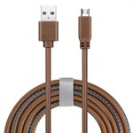 Powerology Micro USB 4 feet leather cable-Brown