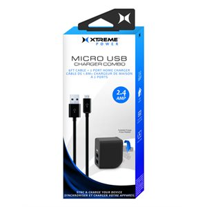 XTREME 2.4Amp 2 Port Home Charger + 6ft Coil Micro USB Cable BLACK
