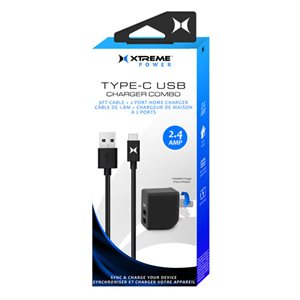XTREME 2.4Amp 2 Port Home Charger + 6ft USB-C Cable BLACK