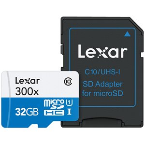 LEXAR 32GB HIGH-PERFORMANCE 300X MICROSDHC/MICROSDXC UHS-I  W/ ADAPTER