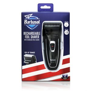 Barbasol Close Shave Foil, Pop Up Trimmer, Rechargeable 45 Min Run Time Black/Grey