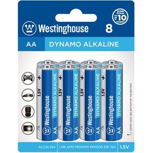 Batteries Westinghouse AA Dynamo Alkaline  (paquet 8)