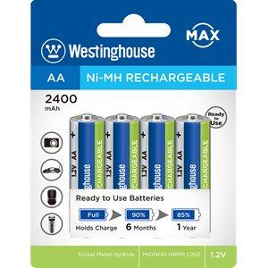 Batterie rechargeable Westinghouse AA Nickel Métal Hydride à décharge lente, 2400mah, pré-chargées  (paquet de 4)